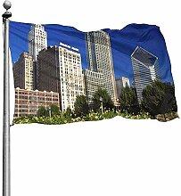 PQU Awesome Yard Flags,Chicago Skyline Von