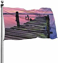 PQU Awesome Yard Flags,Holz Pier Bei
