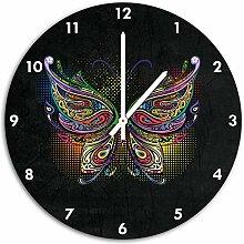Prachtvoller Schmetterling Schwarz, Wanduhr
