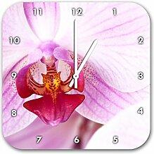 Prächtige Rosa Orchidee, Wanduhr Quadratisch Durchmesser 28cm mit weißen spitzen Zeigern und Ziffernblatt, Dekoartikel, Designuhr, Aluverbund sehr schön für Wohnzimmer, Kinderzimmer, Arbeitszimmer