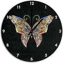 Prächtiger Schmetterling Schwarz, Wanduhr Durchmesser 48cm mit schwarzen spitzen Zeigern und Ziffernblatt, Dekoartikel, Designuhr, Aluverbund sehr schön für Wohnzimmer, Kinderzimmer, Arbeitszimmer