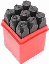 Praegung Werkzeuge - SODIAL(R)9 Stk. Briefmarken Zahlen Digitale Praegung Stahl Metall Stempel Werkzeuge 10 mm