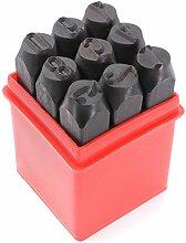 Praegung Werkzeuge - TOOGOO(R)9 Stk. Briefmarken Zahlen Digitale Praegung Stahl Metall Stempel Werkzeuge 12.5 mm