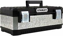 Präzise Engineered Stanley verzinkt Metall Tool Box schwarz & silber 580mm/58,4cm [1Stück]–W/3Jahre rescu3® Garantie
