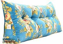 Praktische Büro Bett Sofa Taille Kissen Abnehmbare Dreieckige Kissen / Kissen Doppelbett Weiche Tasche Bett Kissen Bett Rückenlehne Blau Blumenmuster Dddlt- pillow and cushions ( größe : 135*50*20cm )