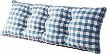 Praktische Büro Bett Sofa Taille Kissen Bedside Verdickung Kissen Dreieck Kissen und lange Rückenlehne abnehmbar und waschbar Doppelte Schutz Taille Kissen Lesen Kissen Gittermuster Dddlt- pillow and cushions ( Farbe : Blau , größe : 100*50*20cm )