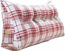 Praktische Büro Bett Sofa Taille Kissen Mode Gitter Nacht Verdickung Kissen Dreieck Kissen Und Lange Rückenlehne Abnehmbare und Waschbar Taille Kissen / Lesen Kissen Dddlt- pillow and cushions ( Farbe : Rot , größe : 120*50*20cm )