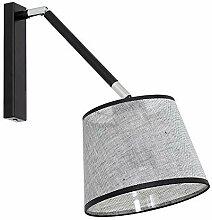 Praktische Wandleuchte in Grau Schwarz 1x E27 bis zu 60 Watt 230V aus gewebten Stoff & Metall Flur Wohnzimmer Esszimmer Lampen Leuchte innen Wandlampe