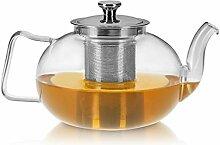praxxim - 1600ml - Tropffreie Glas Teekanne mit