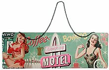 Preis am Stiel Blechschild Nostalgie Motel mit