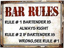 Preis am Stiel Blechschild Restaurant Bar Rules |