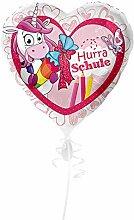 Preis am Stiel Folienballon Hurra Schule - Einhorn