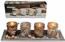 Preis am Stiel Holzteller mit Teelichthalter |