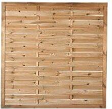 """Preiswerter Lamellenzaun / Gartenzaun Holz in den Maßen 150 x 150 (Breite x Höhe) aus druckimprägniertem Kiefer/Fichte Holz """"""""Hamburg II"""