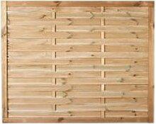 """Preiswerter Lamellenzaun / Holzzaun Sichtschutz in den Maßen 150 x 120 (Breite x Höhe) aus druckimprägniertem Kiefer/Fichte Holz """"Hamburg II"""