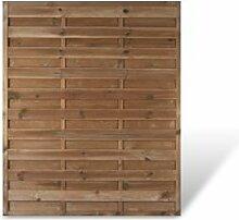 """Preiswerter Sichtschutz Lamellenzaun Maß 150 x 180 cm (Breite x Höhe) aus Kiefer / Fichte Holz, druckimprägniert """"Berlin"""" Massiv"""