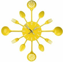 Premier Housewares 2200666 Besteck Wanduhr, gelb