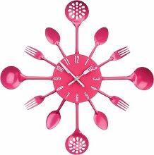 Premier Housewares 2200671 Besteck Wanduhr,heiß rosa