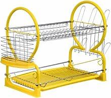 Premier Housewares Abtropfgestell, 2 Etagen Abtropfgitter gelb