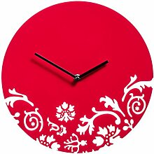 Premier Housewares Floral Swirl Wanduhr, schwarz _ PARENT, rot, Einheitsgröße