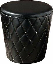 Premier Housewares Hocker aus Kunstleder rund mit Hohlraum Stickereien und goldene Nieten als Verzierung 43x42x42cm schwarz