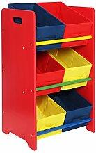 Premier Housewares Spielzeugregal, 3-stöckig, MDF, mit Rahmen und 6 Stoffschubladen, 64 x 45 x 30 cm, mehrfarbig