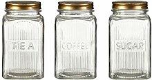 Premier Housewares Vorratsdosen, Metall, Gold,Glas