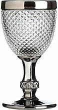 Premier Housewares Weinglas, Silber umrandet,