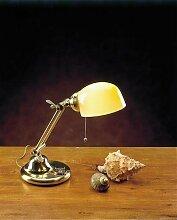 Premium Bankerlampe Messing Glas in Bernstein