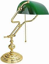 Premium Bankerlampe mit Zugschalter vergoldet mit