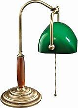 Premium Bankersleuchte Bankerlampe mit Zugschalter Bronze hell Jugendstil 1xE27 bis 60W 230V aus Messing & Glas Schreibtisch Lampe Leuchten innen Beleuchtung