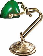 Premium Bankersleuchte Bankerlampe mit Zugschalter in Bronze hell Jugendstil 1xE14 bis 60W 230V aus Messing & Glas Schreibtisch Lampen Leuchte Beleuchtung innen
