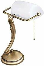 Premium Bankersleuchte Bankerlampe mit Zugschalter in Bronze hell Jugendstil 1xE27 bis 60W 230V aus Messing & Glas Schreibtisch Lampen Leuchte Beleuchtung