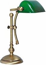 Premium Bankersleuchte Bankerlampe mit Zugschalter in Bronze hell Jugendstil 1xE14 bis 60W 230V aus Messing & Glas Schreibtisch Lampen Leuchte Beleuchtung