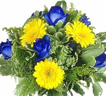 Premium Blumenstrauß blau und gelb - Rosen,