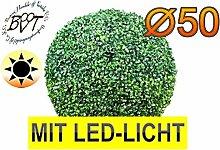 PREMIUM Buchsbaum, große Buchsbaumkugel Durchmesser 50 cm 500 mm grün dunkelgrün KOMPLETT mit Echtholzstamm Holz und Deko Efeuranke + Moos auf Wunsch mit Solarbeleuchtung SOLAR LICHT BELEUCHTUNG (Zubehör) mit Terracotta Topf Plastik und stabilem Fuß (Zement) Kunstpflanzen stabile Dekobäumchen künstliche Bäume Bäumchen Kugel Buxbaumkugel + Solarlicht LED Lampe 2 Lampen Lichterbaum Kunstblume Außen- und Innendekoration Balkonsichtschutz Balkon Pflanzen Sichtschutz