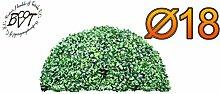 PREMIUM Buchsbaum, kleine Buchsbaum-Halbkugel Ø 18 cm 180 mm grün dunkelgrün , ohne Echtholzstamm (Zubehör Mailanfrage), und Deko Efeuranke + Moos auf Wunsch mit Solarbeleuchtung SOLAR LICHT BELEUCHTUNG (Zubehör) , ohne Terracotta Topf Plastik und stabilem Fuß (Zement) hoch und stabil Kunstpflanze Buxbaum künstlicher Baum künstlich Kunstpflanzen stabile Dekobäumchen künstliche Bäume Bäumchen Kugel Buxbaumkugel + Solarlicht LED Lampe 2 Lampen Kunstpflanzen