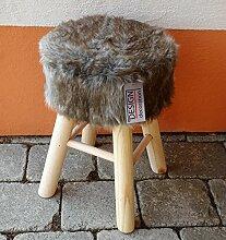 Premium Design Fellhocker grau Hocker Sitzhocker Shemel Fußhocker Barhocker Beistellhocker Holz Felloptik Stuhl Fell Dekohocker NEU