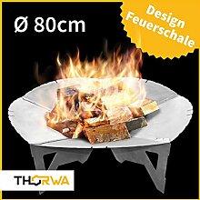 Premium Design Feuerschale 80 cm rustikal z.B. erhältlich mit Feuerkorb • Feuerstelle für Grill • Mit Loch • zerlegbar