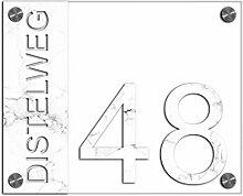 Premium Designer Hausnummer 21x17 cm mit UV Druck
