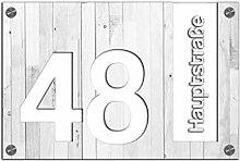 Premium Designer Hausnummer 30x20 cm mit UV Druck