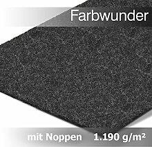 Premium Farbwunder Kunstrasen Rasenteppich mit Noppen in Meterware – Anthrazit, (200 x 1400 cm)