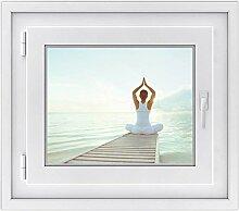 Premium Fensterbild - selbshaftende Fenster-folie | hochwertige Glasdekorfolie für Spiegel und Badfenster | dekorativer Fensteraufkleber für Küche und Wohnzimmer | Design Yoga Woman - 50 x 40 cm