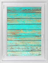 Premium Fensterbild - selbshaftende Fenster-folie | hochwertige Glasdekorfolie für Spiegel und Badfenster | dekorativer Fensteraufkleber für Küche und Wohnzimmer | Design Wooden Aqua - 70 x 100 cm