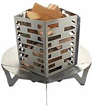 Premium Feuerschale 80 cm im Turbinen Design + Feuerkorb • Feuerkorb für den Garten • Feuerstelle als Grill • zerlegbar (Feuerschale + Feuerkorb)