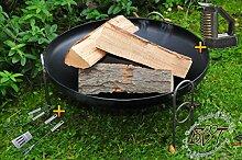 PREMIUM-Feuerschale , XXL ca. 80 cm (Feuerschalen von 50 - 100 cm) GROß Stahl mit Grillbesteck + Reiniger Gartengrill Wurstspieß Grillspieß Spieße