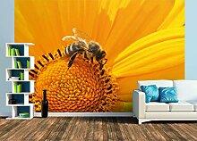 Premium Foto-Tapete Blume mit Biene (verschiedene