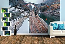 Premium Foto-Tapete Bootshaus mit Blick auf die