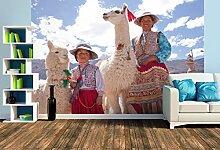 Premium Foto-Tapete Frau und Mädchen mit Lama und