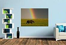 Premium Foto-Tapete Nashorn im Sturm (verschiedene